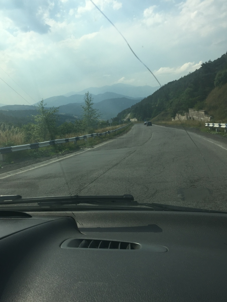 View of the mountains through the windscreen.