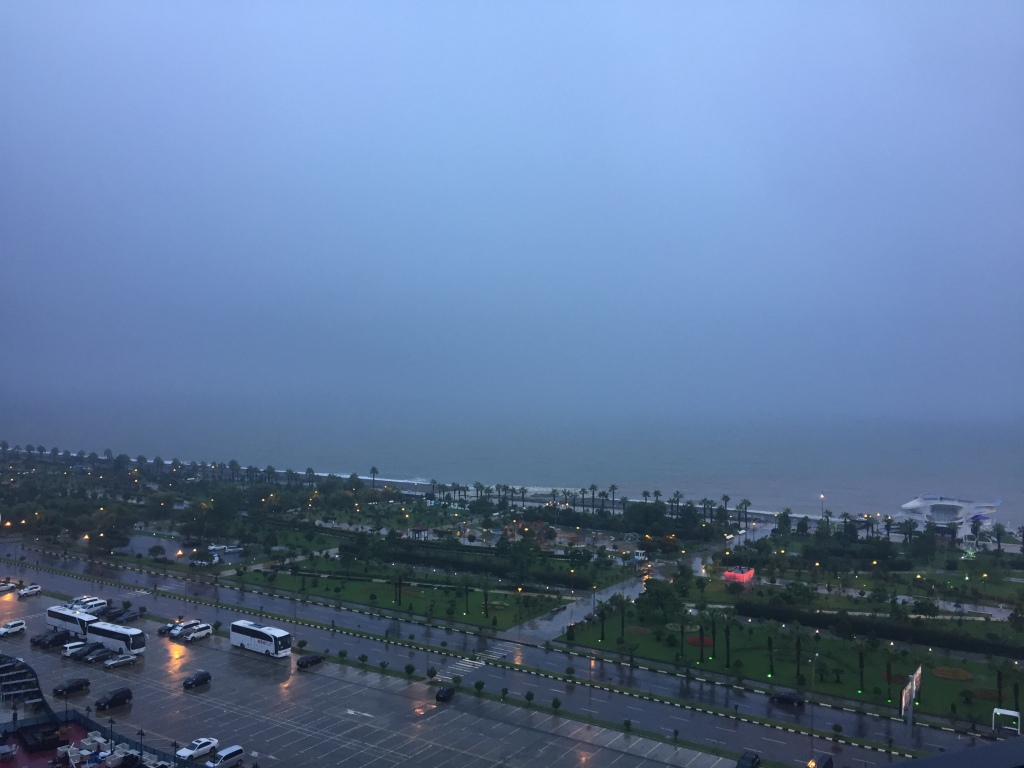 View of Batumi's beach area in the rain.