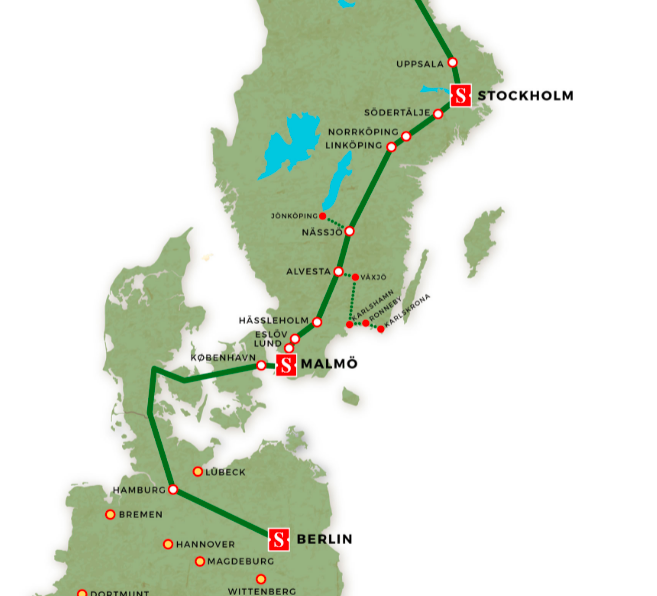 Map of route from Berlin to Stockholm, via Hamberg, and Copenhagen.